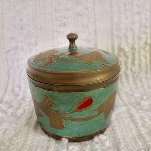 Vintage brass circular storage container